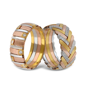 The collection by K.P. Sanghvi reveals a modern edge, showcasing rings in three shades of German alloyed rose, white and yellow gold, fitted with diamonds using the latest machine technology.