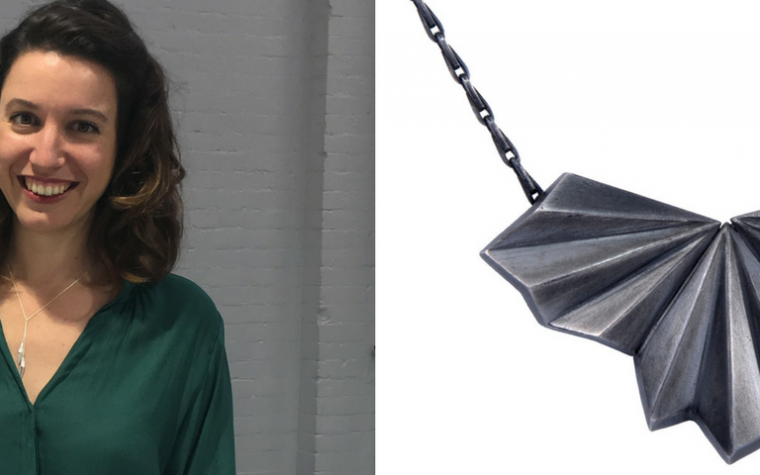 Alice Barnes Jewellery Pleated Necklace and headshot at IJL 2017