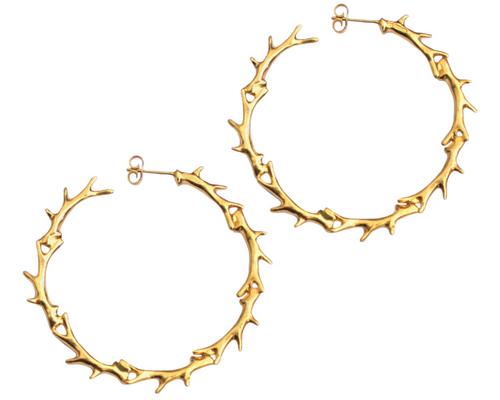 Gold Plated Big Antler Hoop Earrings Phoebe Jewellery