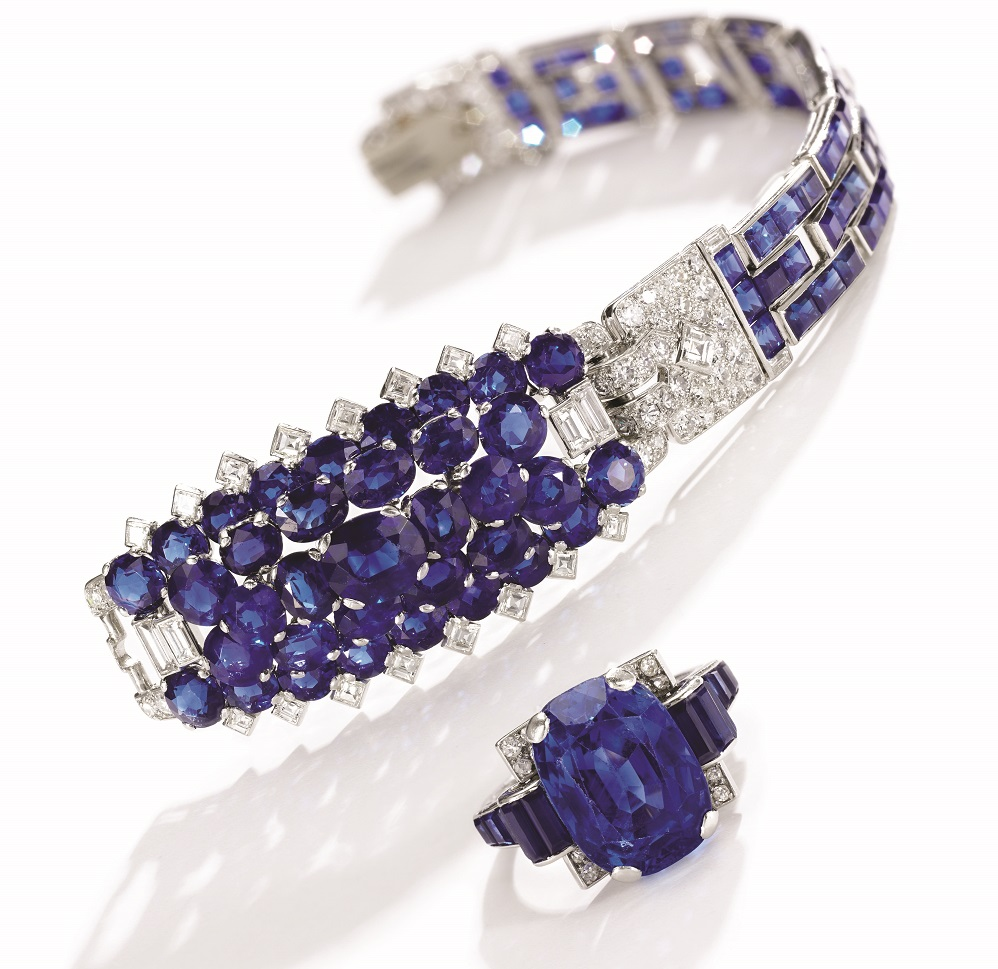 Lots 377-378 - 1930s sapphire and diamond bracelet, Cartier + ring