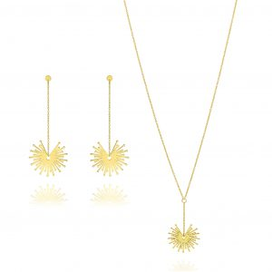 Unique & Co. 9ct gold jewellery IJL 2018 matching necklace and earrings