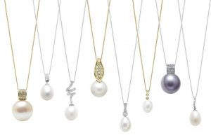 Diamond Set Pearl Pendants