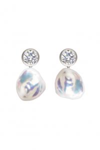 Mermaid Collection - Keshi Pearl & Zircon Earrings